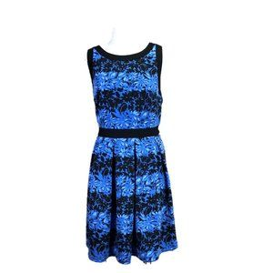 ELLE Blue Floral/Black Pleated Fit & Flare Dress